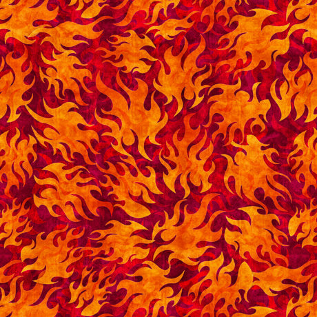 Easy Rider - Flames on Red Cotton Fabric
