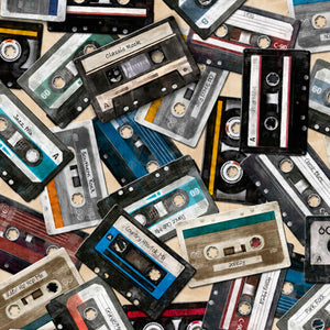 Good Vibrations Fabric Collection - Cassettes on Cream