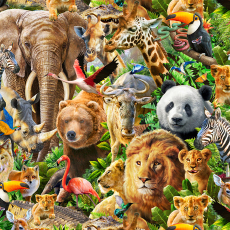 Artworks XIV - Packed Animals Digitally Printed Cotton Fabric