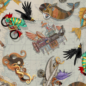 Fantasy & Fiction Fabric Collection - Steampunk Toss on Grey