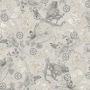 Fantasy & Fiction Fabric Collection - Steampunk Toile on Grey