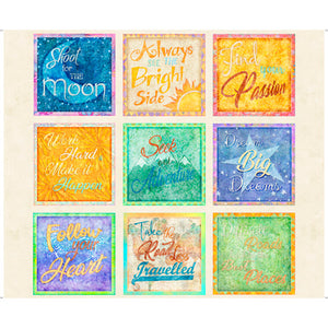 Dream Big Fabric Collection - Inspirational Quotes Patches on Cream