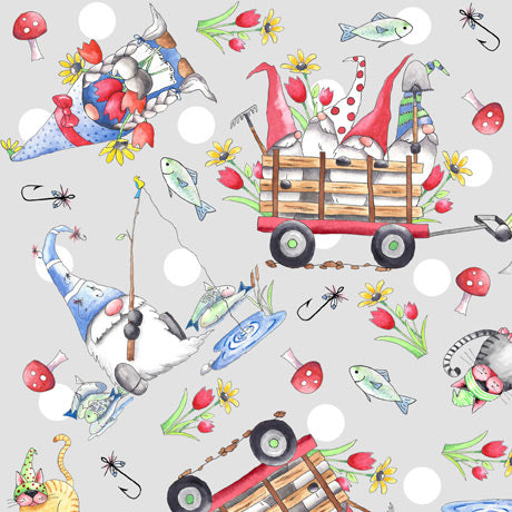Gnomesville - Gnome Vignette Toss on Pale Grey - Cotton Print Fabric - per half metre