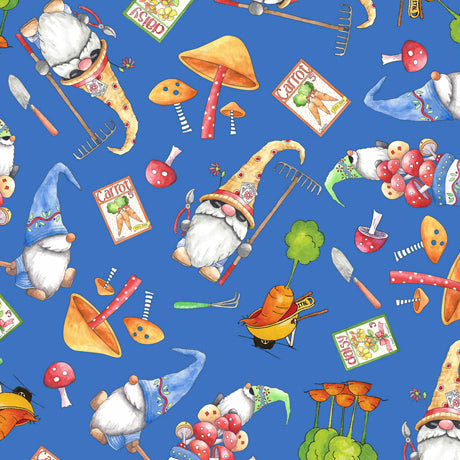 Gnomesville - Gnomes and Veggie Toss on Dark Blue - Cotton Print Fabric - per half metre