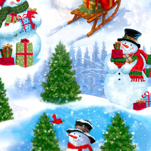 Frosty Friends Cotton Print - Snowman Scenic