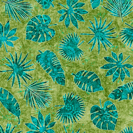 Serengeti Cotton Print - Palm Leaves on Green