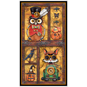 Steampunk Halloween Cotton Print - Steampunk Halloween Panel