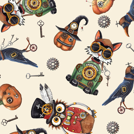 Steampunk Halloween Cotton Print - Steampunk Halloween Toss on Cream