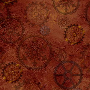 Steampunk Halloween Cotton Print - Gears on Brown