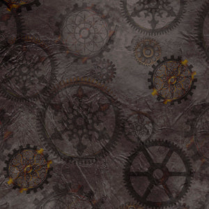 Steampunk Halloween Cotton Print - Gears on Smoke