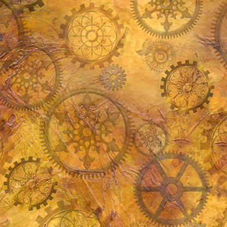 Steampunk Halloween Cotton Print - Gears on Antique Gold
