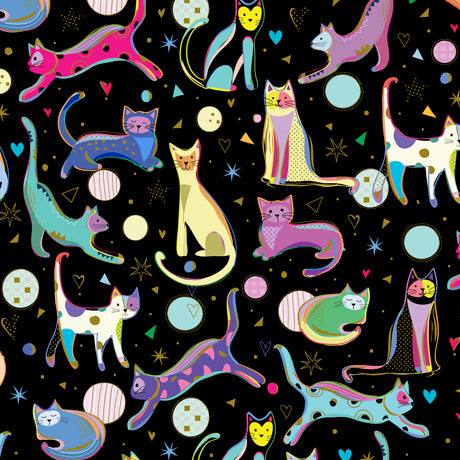 Kitty Cats Cotton Print - Cats on Black