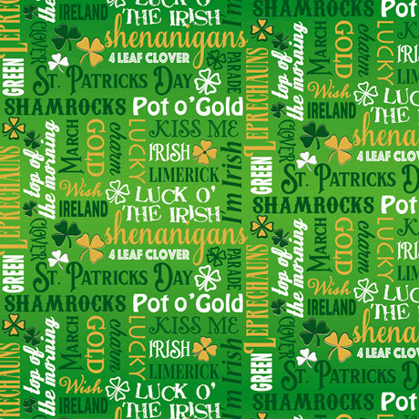 Irish Charm Cotton Print - Irish Lingo on Green