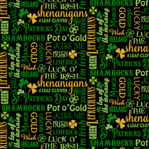 Irish Charm Cotton Print - Irish Lingo on Black