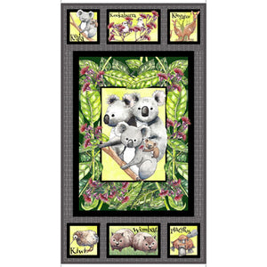 Kiwis and Koalas Cotton Print - Koala Panel