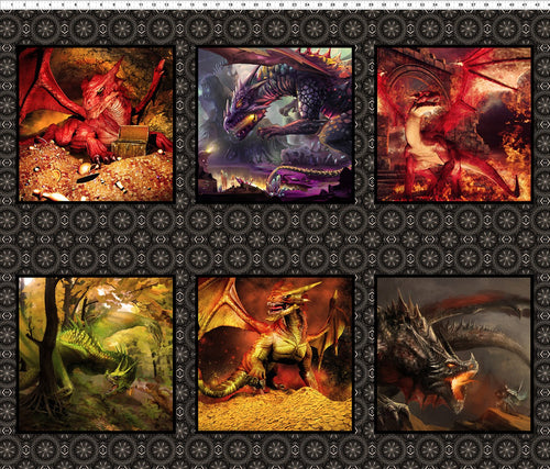 Dragons Fabric Collection - Red Dragon Squares