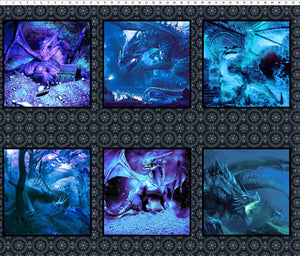 Dragons Fabric Collection - Blue Dragon Squares