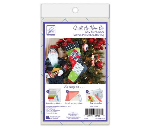 Quilt As You Go Christmas Stocking Pre-printed Wadding Pack - Squares