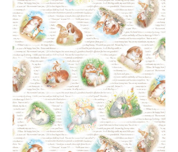 Honey Bunny Cotton Print - Cuddly Bunny