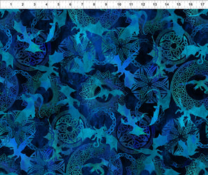 Dragons Fabric Collection - Dragon Silhouettes on Blue