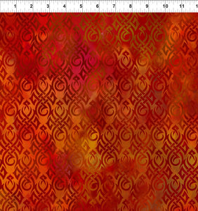 Dragons Fabric Collection - Tribal Symbols on Red