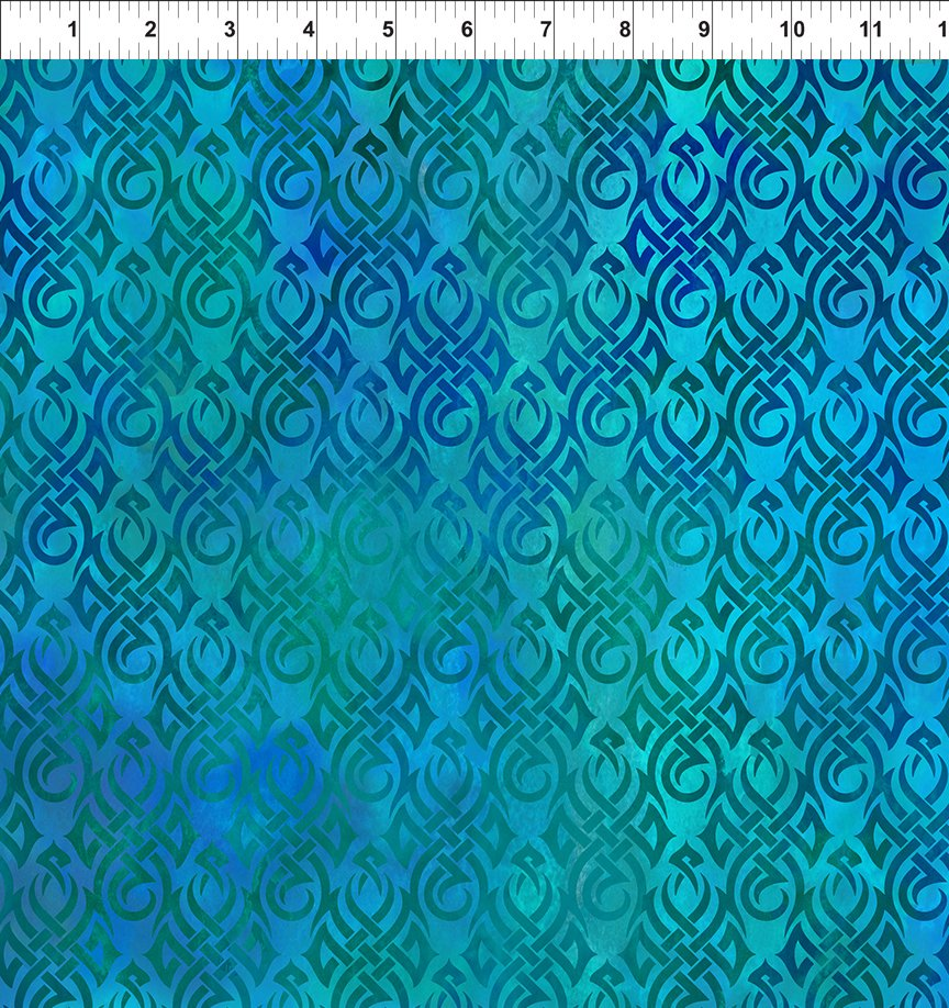 Dragons Fabric Collection - Tribal Symbols on Blue