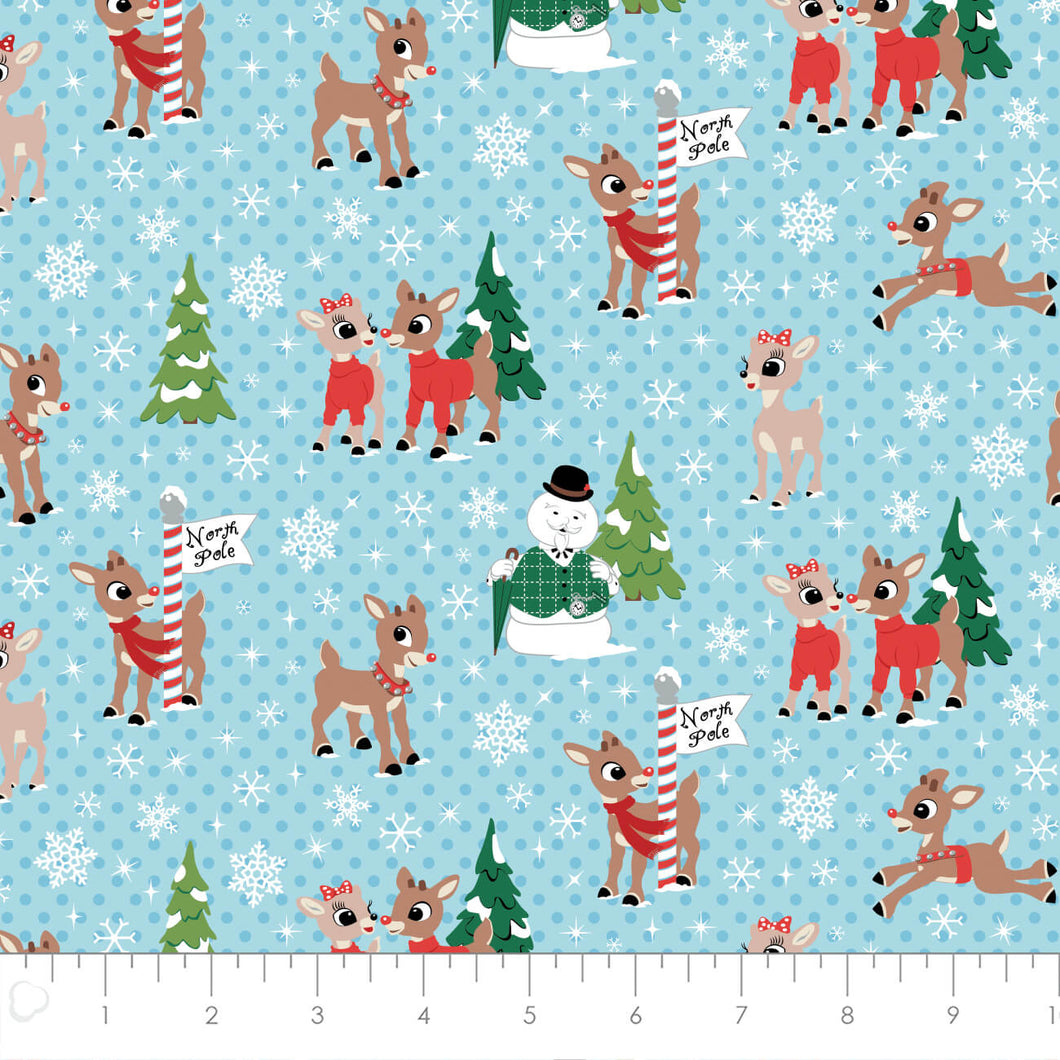 Rudolph the Red-nosed Reindeer Cotton Print - Rudolph and Friends North Pole in Blue