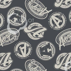 Marvel Avengers Collection - Tossed Logos on Charcoal