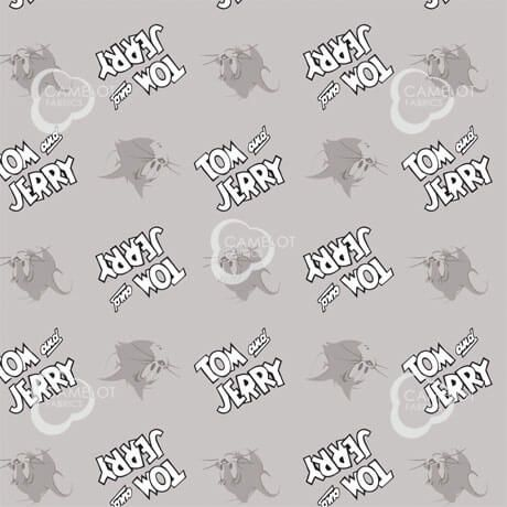 Tom and Jerry Cotton Print - Tom and Logo on Grey