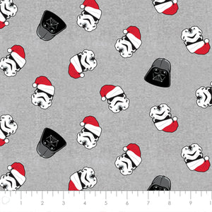 Star Wars Winter Holiday Cotton Print - Vadar and Trooper Santa Hat in Grey