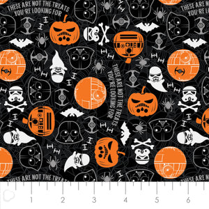 Star Wars Halloween Cotton Print - Halloween Toss in Black - Glow in the Dark