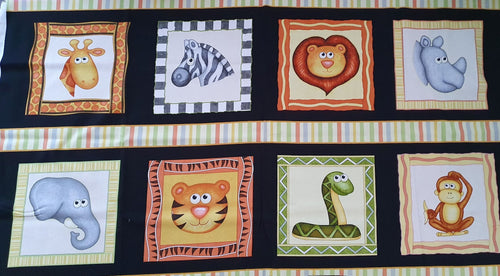 Jungle Buddies Cotton Print - Animal Squares Panel