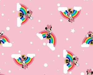 Little Johnny Digital Cotton Fabric - Disney Rainbow Minnie