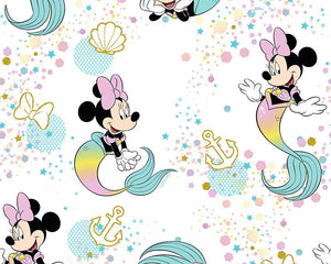 Little Johnny Digital Cotton Fabric - Disney Mermaid Minnie