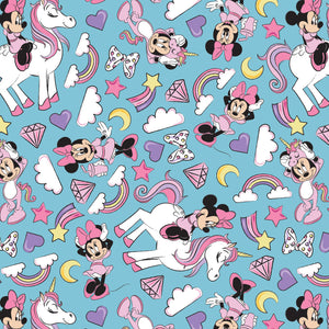 Disney's Minnie Mouse I Believe in Unicorns Fabric Collection - Minnie on Turquoise