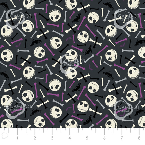 Nightmare Before Christmas, Jack is Back Fabric Collection - Skulls and Bones