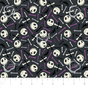 Nightmare Before Christmas, Jack is Back - Skulls and Bones - per 1/4 metre