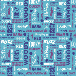 Disney Toy Story - Character Names on Blue - 100% cotton fabric