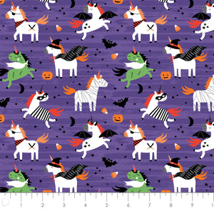 It's Always Unicorn Season Cotton Print - Halloween Unicorns in Purple