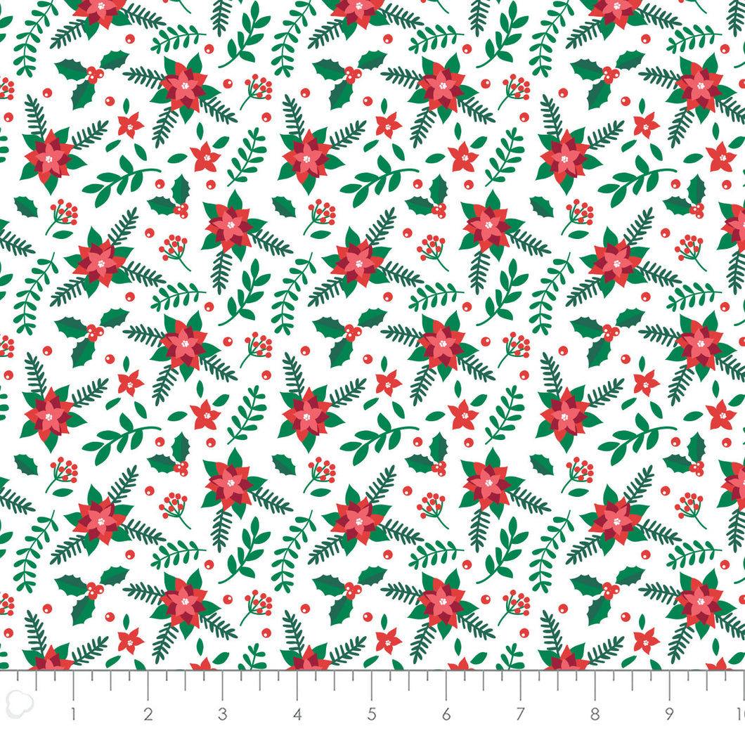 It's Always Unicorn Season Cotton Print - Poinsettias in White