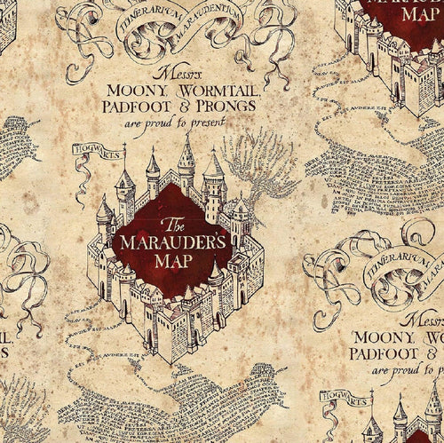Harry Potter Cotton Fabric Collection -Marauder's Map