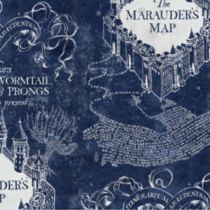 Harry Potter Cotton Fabric Collection - Marauder's Map on Navy