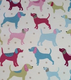 Canvas Cotton Print Fabric - Dogs Pink Multi - per half metre