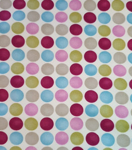 Cotton Print Canvas Fabric - Spot Pink Multi - per half metre