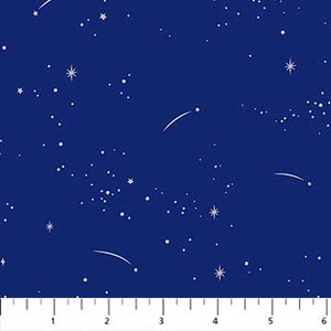 Lucky Charms Fabric Collection - Silver Shooting Stars on Navy