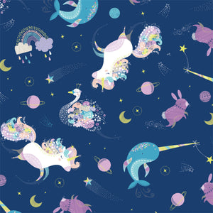 Out Of This World - Orchestra Navy Glow in the Dark Fabric
