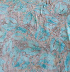 Sew Simple Stamped Batik Fabric - Leaf on Ice Blue
