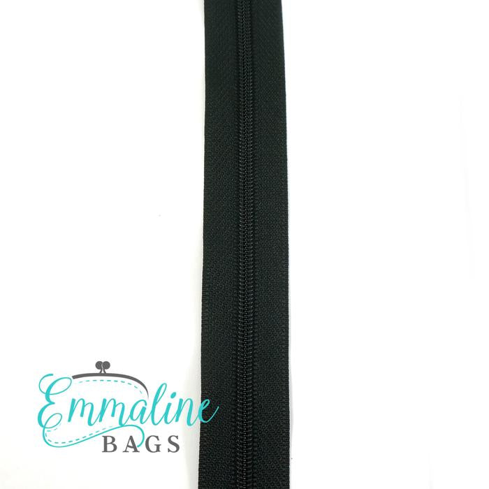 Emmaline Zipper-by-the-Yard - Size #3 - Black/ Black Coil - 3 Yards
