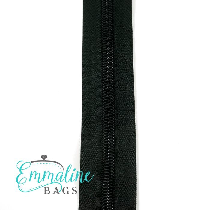 Emmaline Zipper-by-the-Yard - Size #5 - Black / Black Coil - 3 Yards