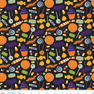 Hocus Pocus Cotton Print - Treats on Black